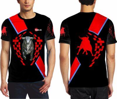 Camiseta de toros con toro corriendo de frente