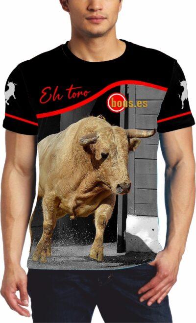 Camiseta toros con toro colorado claro saliendo de toriles